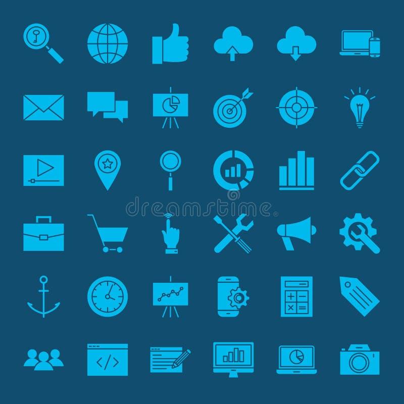 SEO Glyphs Web Icons ilustração royalty free