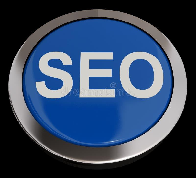 SEO guzik W Błękitnym Pokazuje Internetowym optymalizacja I marketingu ilustracji