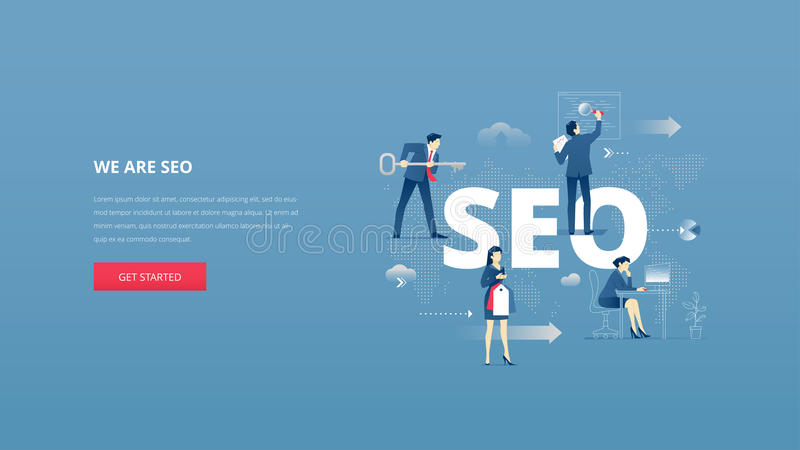 SEO hero banner. Vector illustrative hero banner of search engine optimisation. SEO hero website header with men and women business characters around word `SEO` vector illustration