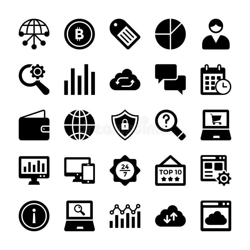 Seo i Cyfrowego Marketingowego glifu Wektorowe ikony 8 zdjęcia stock