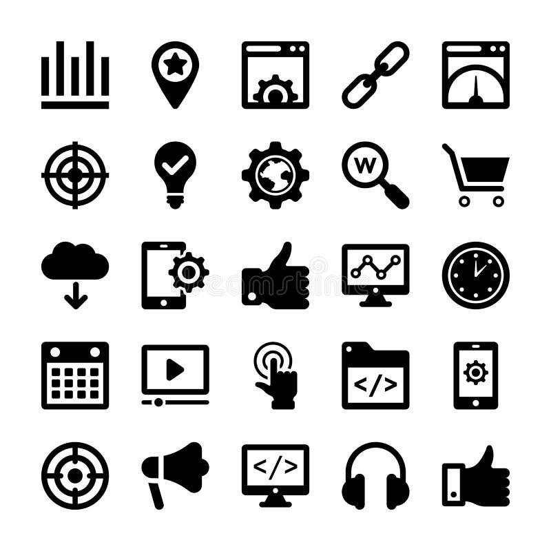 Seo i Cyfrowego Marketingowego glifu Wektorowe ikony 1 obrazy royalty free