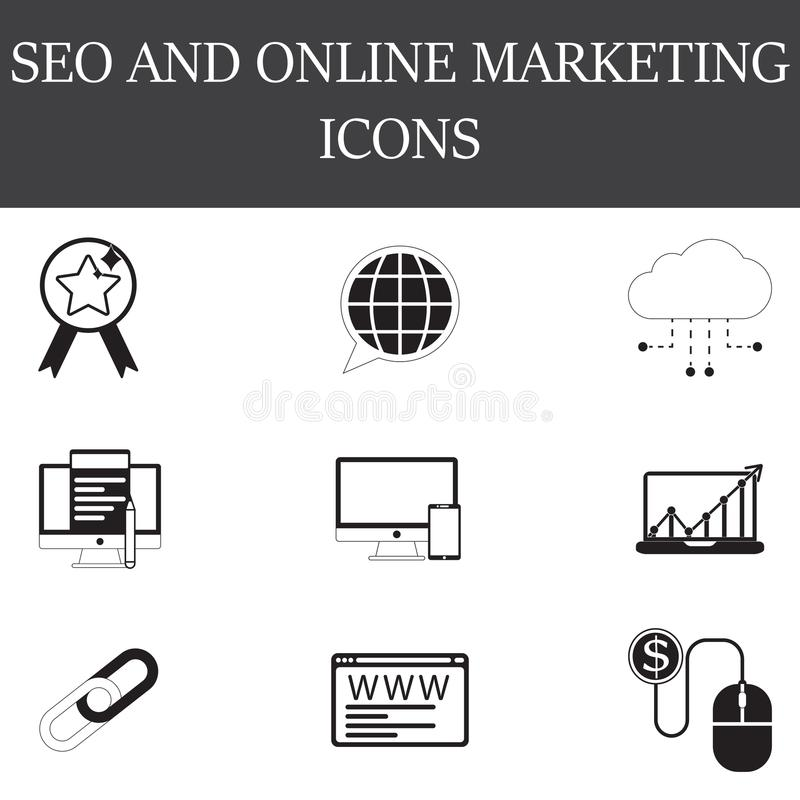 SEO i internet ikony kreskowe i pełne ustawiamy, konturu i bryły vect, ilustracja wektor