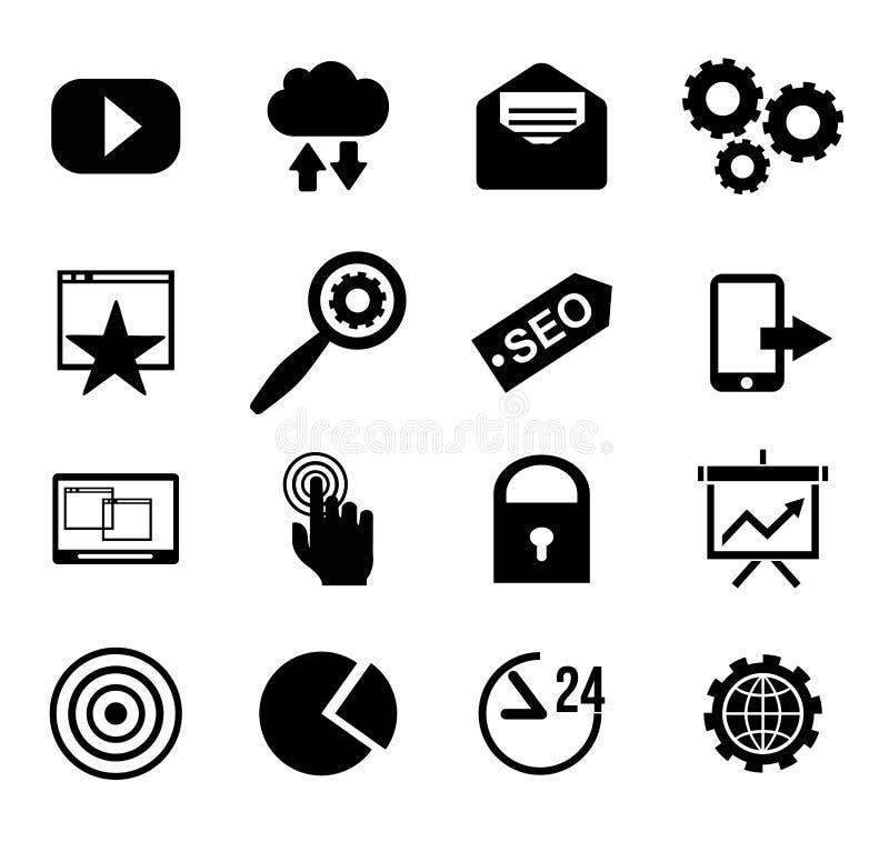 SEO i internet wektorowej ikony ustalona sieć, strona internetowa royalty ilustracja