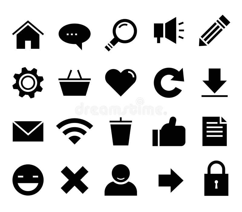SEO i internet wektorowej ikony ustalona sieć, strona internetowa ilustracji