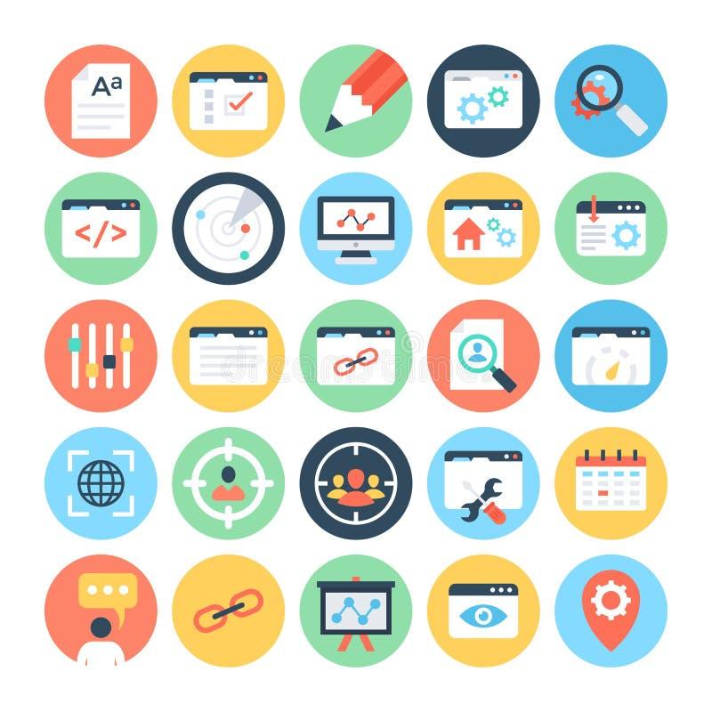 SEO 3 i Marketingowe Wektorowe ikony ilustracji