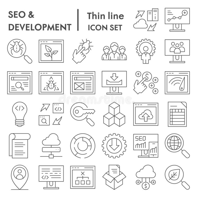 Seo i rozwój ikony cienki kreskowy set, oblicza symbol kolekcję, wektorowi nakreślenia, logo ilustracje, optymalizacja ilustracji