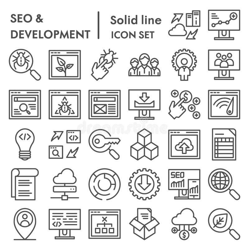 Seo i rozwój ikony kreskowy set, oblicza symbole kolekcja, wektor kreślimy, logo ilustracje, optymalizacja znaki royalty ilustracja
