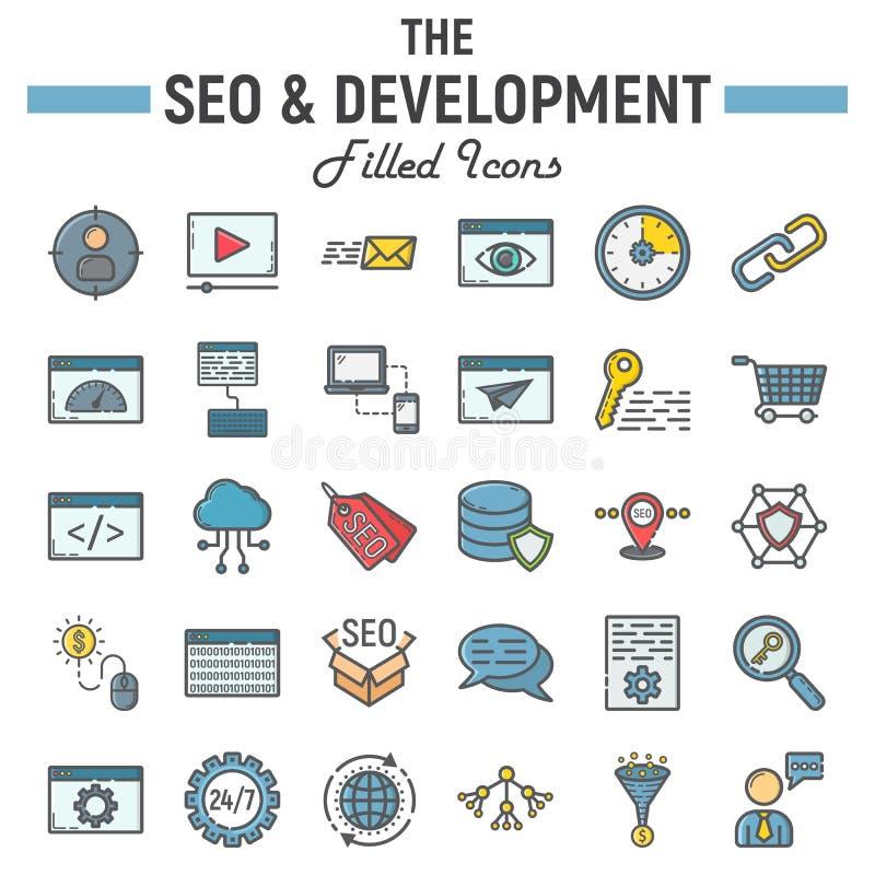 SEO i rozwój wypełniający kontur ikony set ilustracja wektor