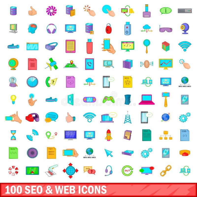 100 seo i sieci ikon ustawiających, kreskówka styl ilustracja wektor