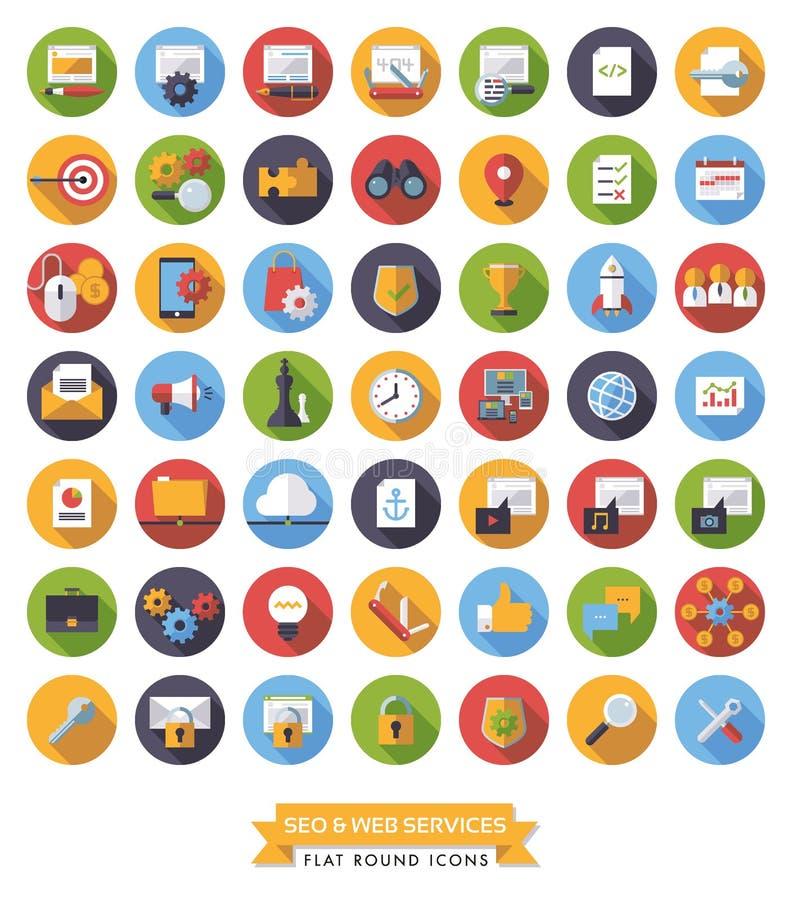 SEO i sieci usługa mieszkania projekta cienia ikony długi set royalty ilustracja