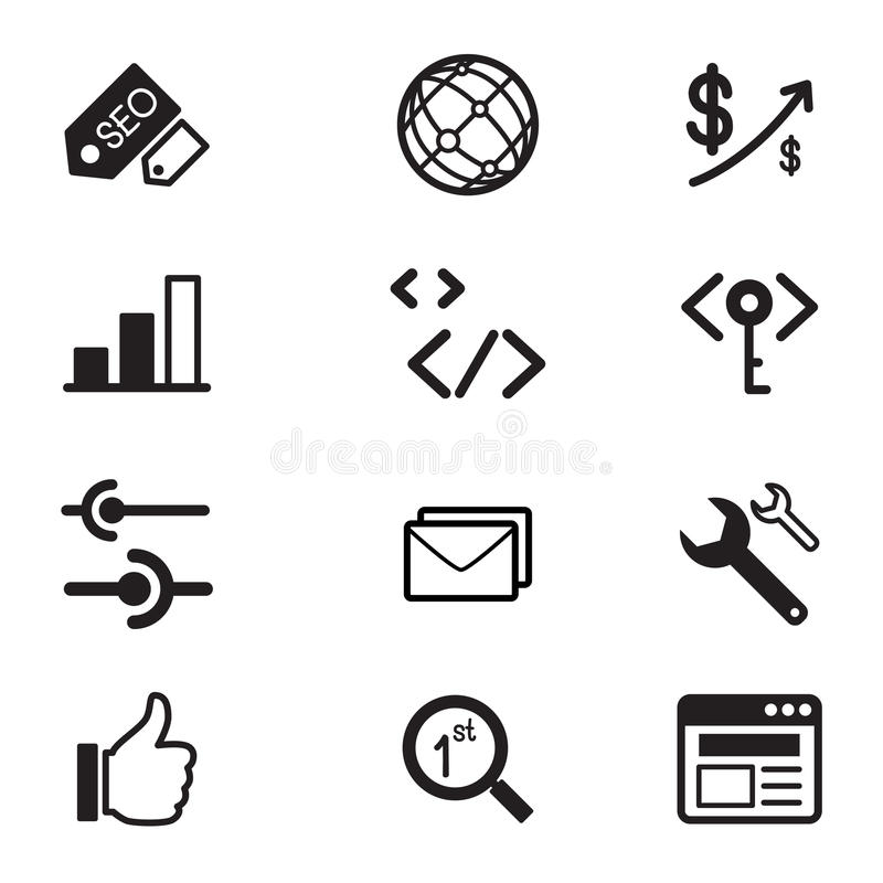 SEO icon set. SEO and development icon Vector illustrarion symbol set vector illustration