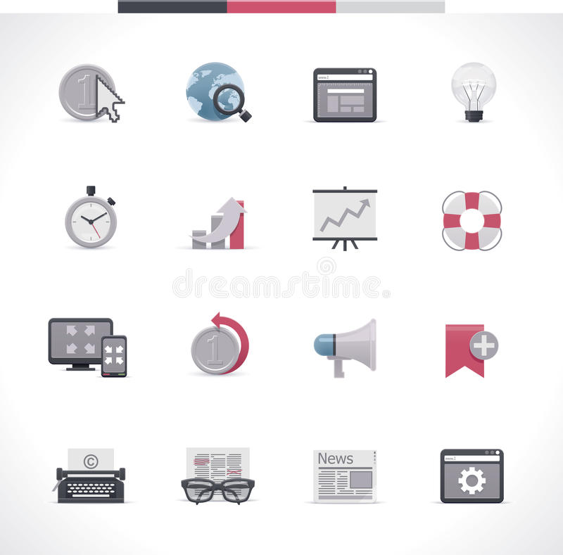 SEO icon set. Part 2. Set of the SEO and web site developing related icons stock illustration