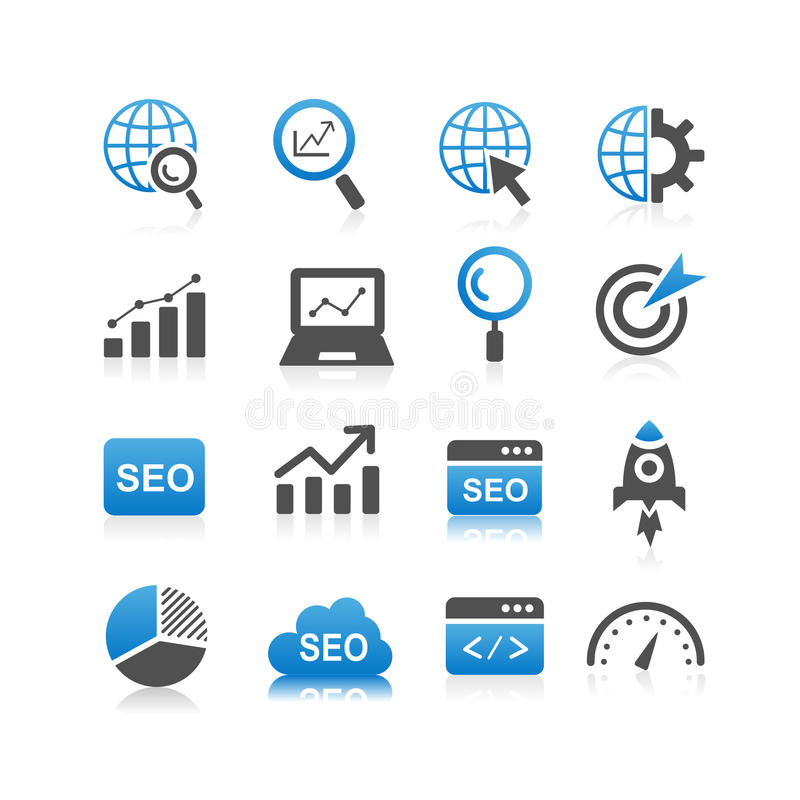 SEO icon set stock illustration