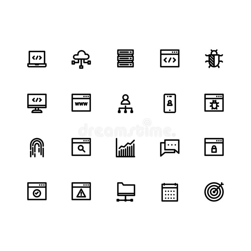 Seo Icon Sets Outline Vector ilustración del vector