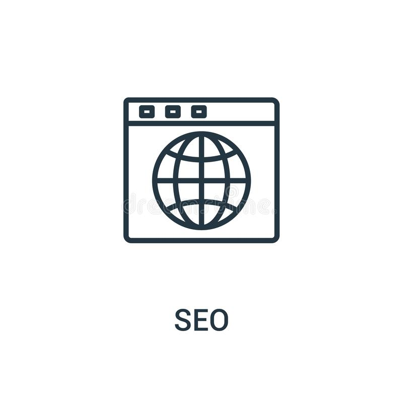 Seo icon vector from seo collection. Thin line seo outline icon vector illustration. Linear symbol for use on web and mobile apps. Logo, print media stock illustration