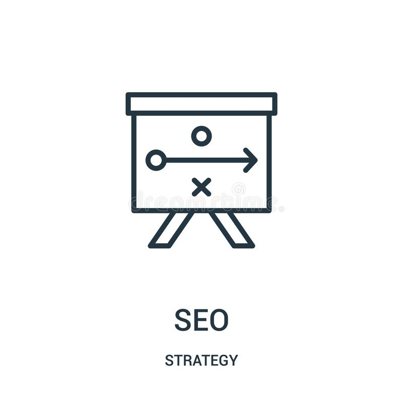 Seo icon vector from strategy collection. Thin line seo outline icon vector illustration. Linear symbol. For use on web and mobile apps, logo, print media royalty free illustration