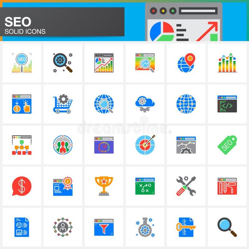 SEO, iconos fijados, colección sólida moderna del símbolo, paquete colorido llenado del vector de la optimización del Search Engi ilustración del vector