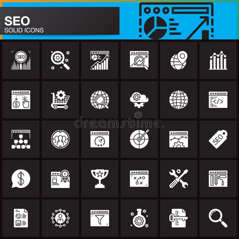 SEO, iconos fijados, colección sólida moderna del símbolo, paquete llenado del vector de la optimización del Search Engine del pi stock de ilustración
