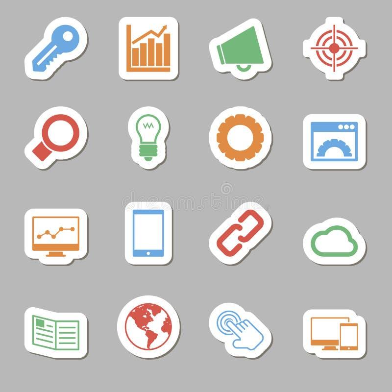 Seo Icons als Labes lizenzfreie abbildung