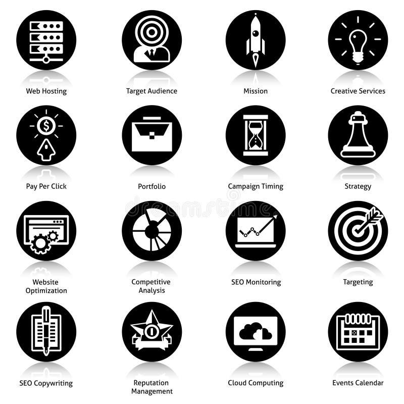Seo Icons Black ilustração stock