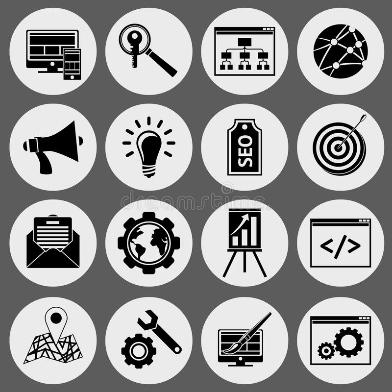 SEO icons black set stock illustration