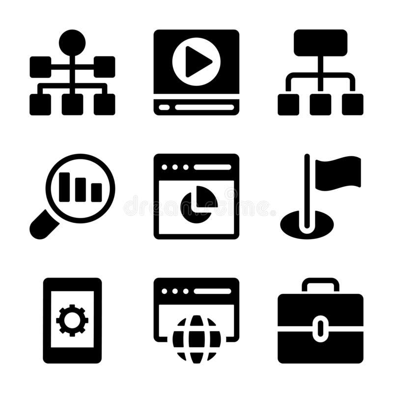 Seo Icons Collection. A wonderful collection of seo glyph icons fringe with web related visuals for your related projects. Edit, use and market your projects in vector illustration
