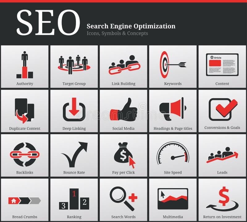 SEO Icons en Symbolen stock illustratie