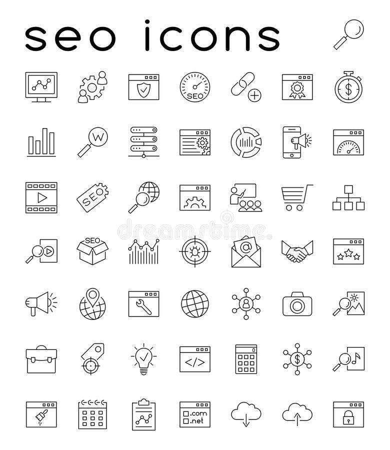 Seo icons. Search engine optimization and internet icons royalty free illustration