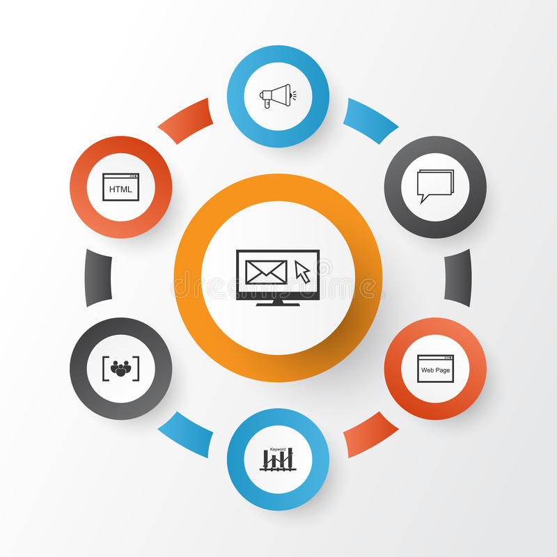 SEO Icons Set. Collection Of Newsletter, Questionnaire, Conference. And Other Elements stock illustration