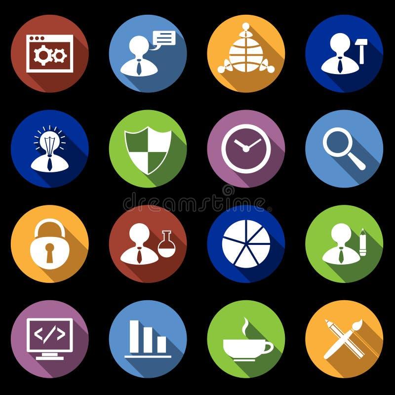 SEO Icons Set Flat lizenzfreie abbildung
