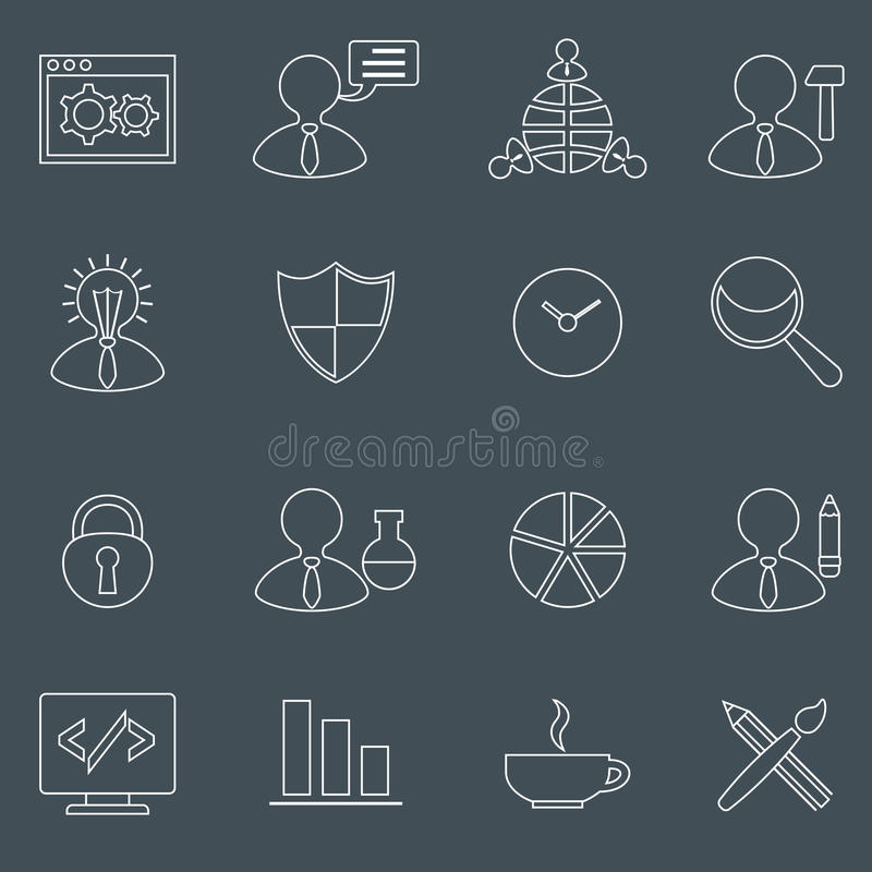 SEO icons set outline vector illustration