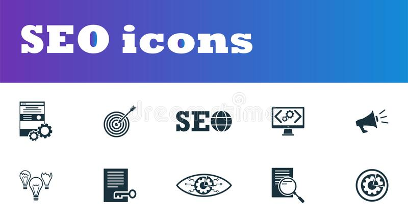 SEO icons set. UI and UX. Premium quality symbol collection. SEO icon set simple elements for using in app, print, software etc. royalty free illustration