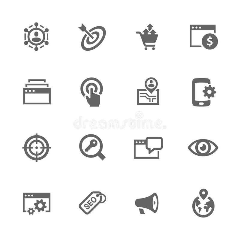 SEO Icons simple stock de ilustración