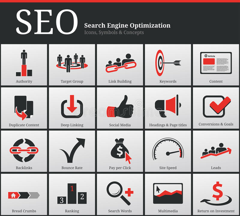 SEO Icons and Symbols. Search Engine Optimization - SEO - Icons and Symbols
