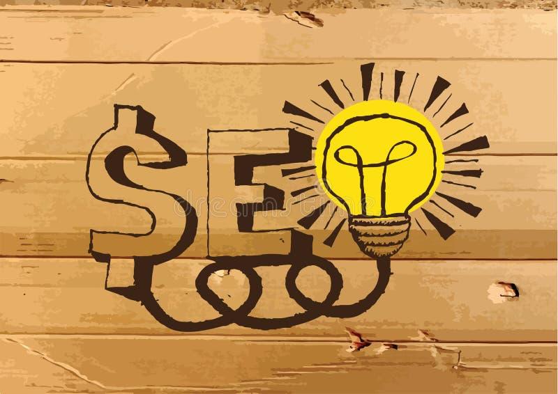Seo Idea SEO Search Engine Optimization no mal da textura do cartão ilustração do vetor