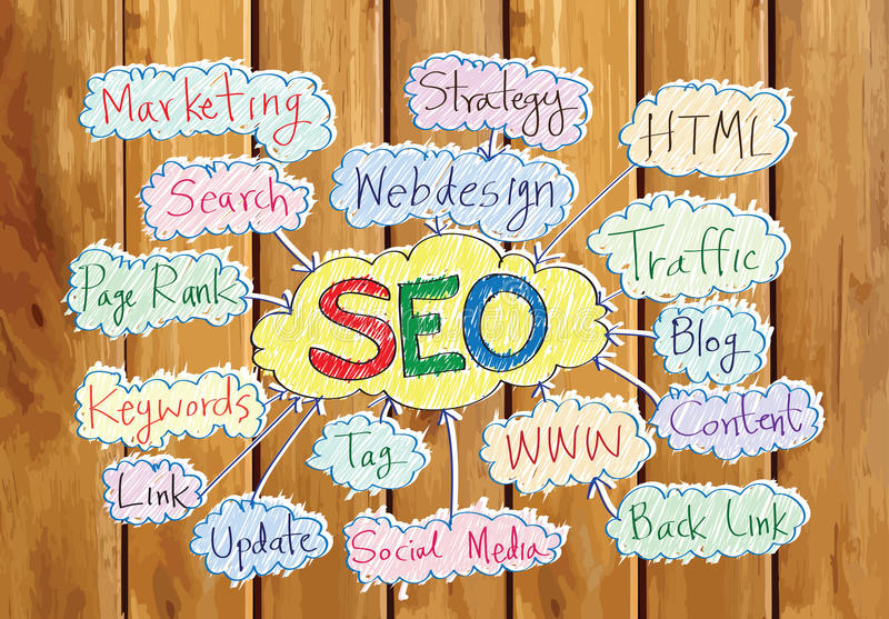 Seo Idea SEO Search Engine Optimization op houten plank als achtergrond vector illustratie