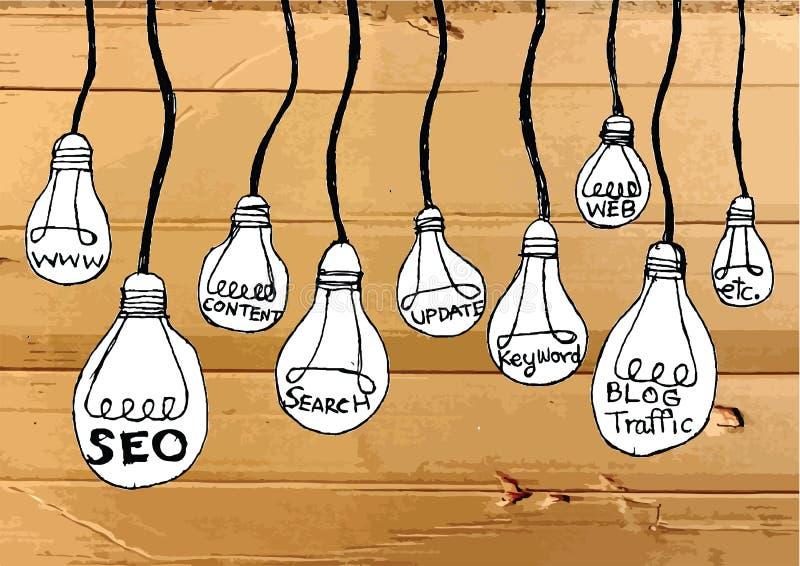 Seo Idea SEO Search Engine Optimization op Kartontextuur stock illustratie