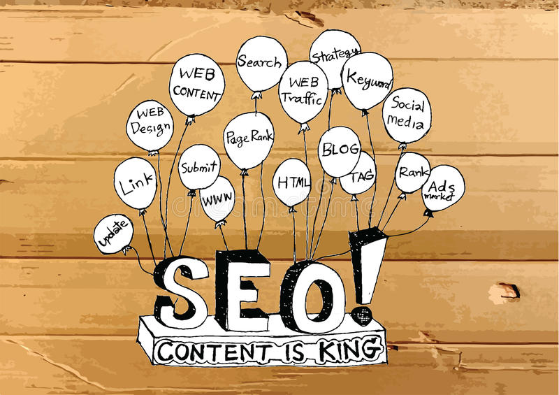 Seo Idea SEO Search Engine Optimization op zieke Kartontextuur stock illustratie