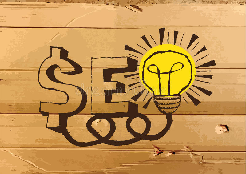 Seo Idea SEO Search Engine Optimization op zieke Kartontextuur vector illustratie