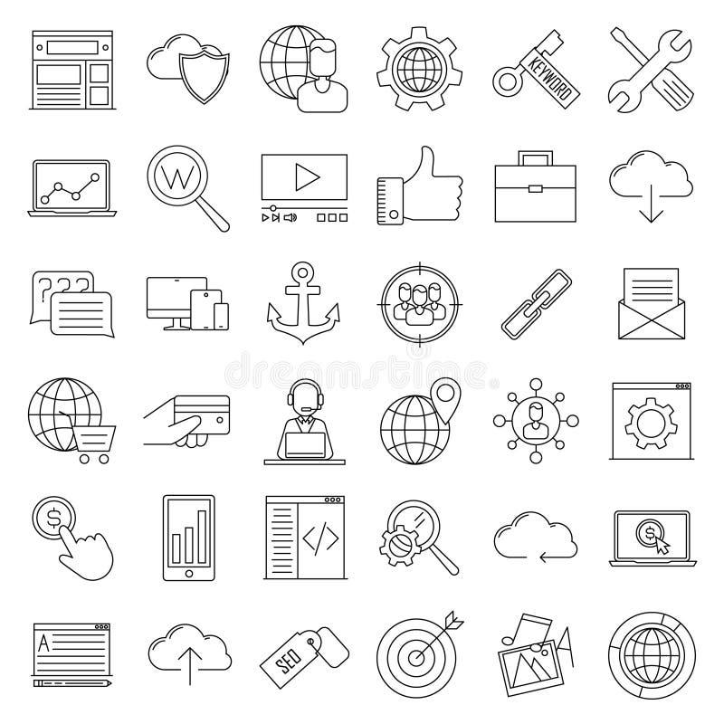 SEO ikony Interneta i rozwoju znaki ilustracja wektor
