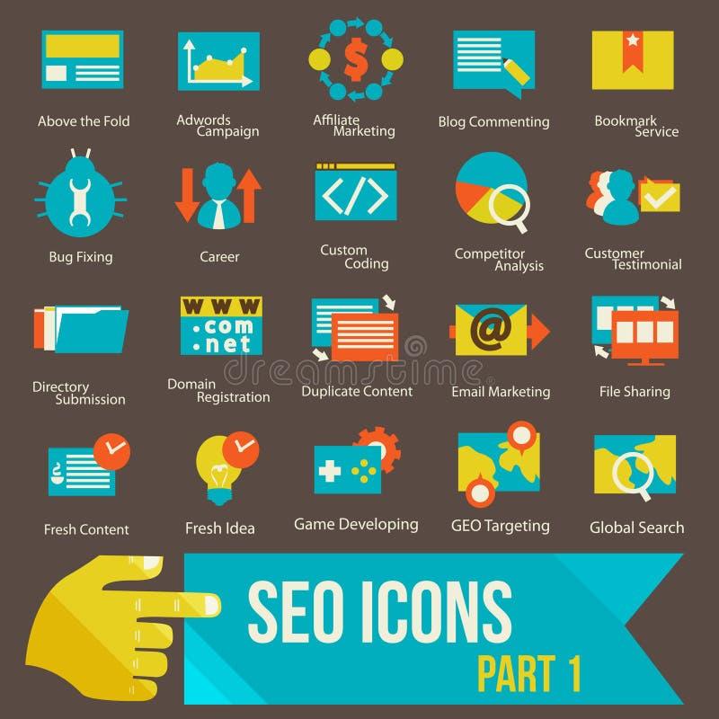 SEO ikony ustawiają część 1 ilustracji