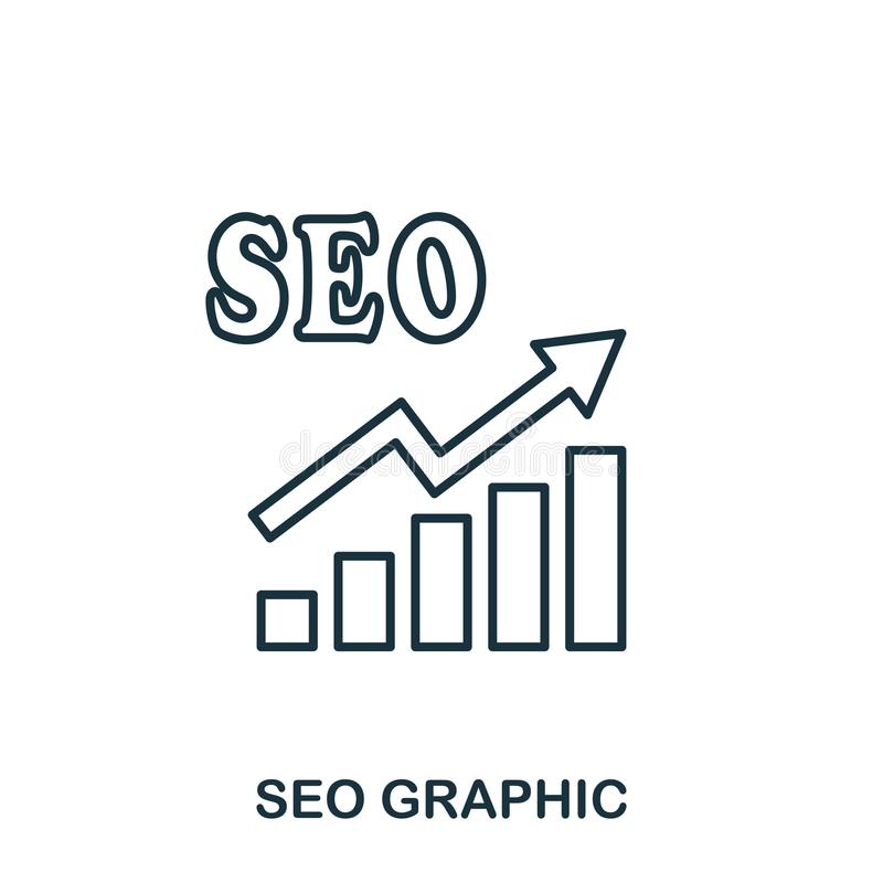 Seo Increase Graphic icon. Mobile apps, printing and more usage. Simple element sing. Monochrome Seo Increase Graphic icon illustr. Ation stock illustration