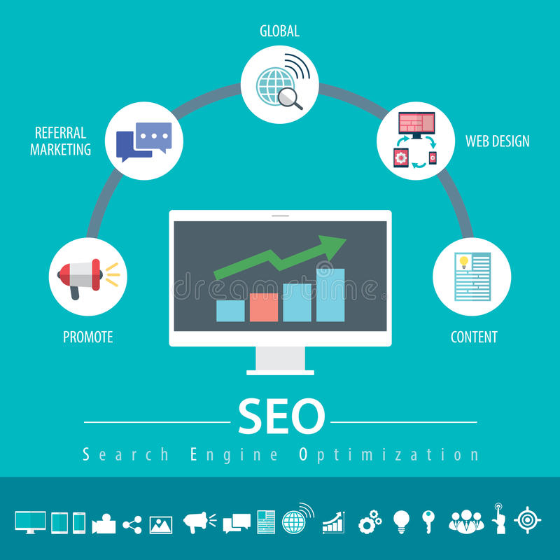 SEO Infographic stock illustrationer