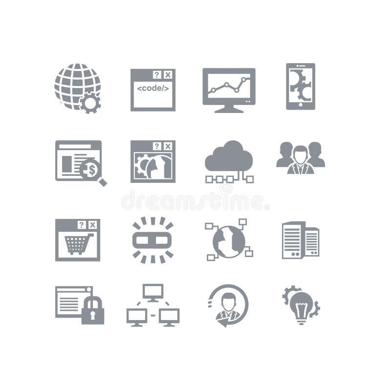 SEO & insieme dell'icona della base di dati illustrazione vettoriale