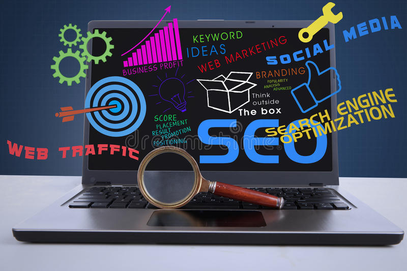 SEO-Internet-Konzept auf Laptop stock abbildung