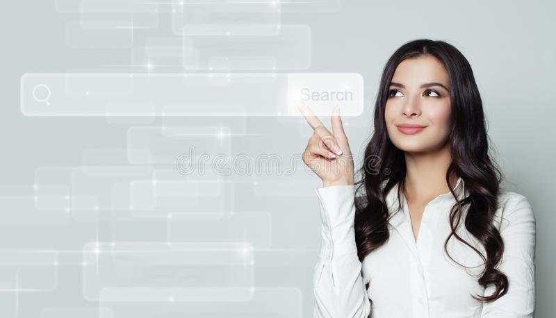 Seo, internet marketing and advertising marketing. Concept. Smiling business woman pointing to empty address bar in virtual web browser royalty free stock photos