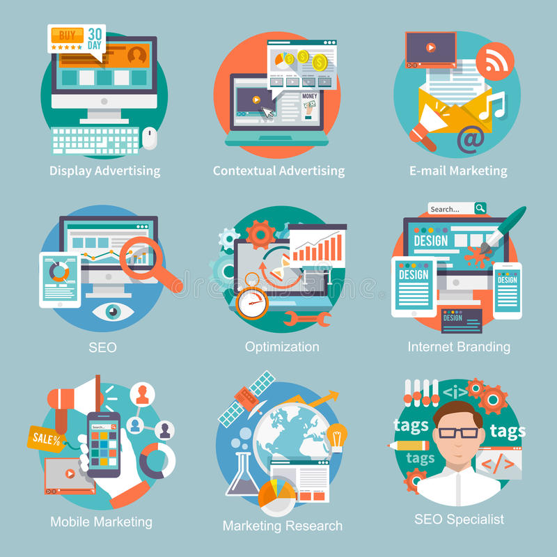 Seo Internet Marketing Flat Icon. Set with display contextual advertising e-mail marketing concepts isolated vector illustration vector illustration