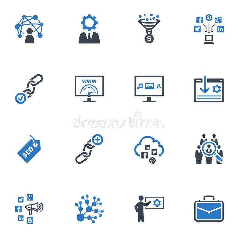 SEO & Internet Marketing Icons Set 2 - Blue Series. This set contains 16 SEO and Internet Marketing icons that can be used for designing and developing websites