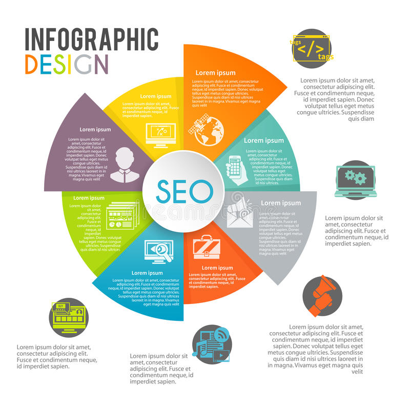 Seo Internet Marketing Infographics. Set with web search optimization symbols in pie chart vector illustration royalty free illustration