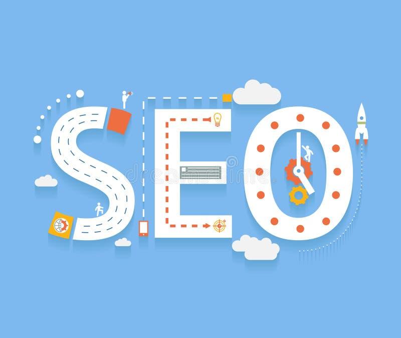 SEO, internet searching optimization process. SEO in flat style, success internet searching optimization process illustration concept vector illustration